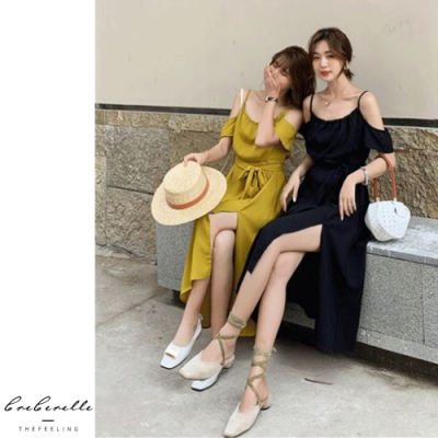 2F韓衣-韓系露肩袖氣質綁帶洋裝-2色(S-M)