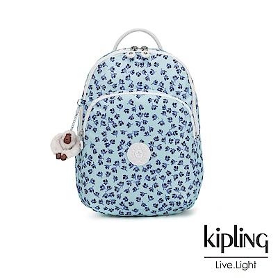 Kipling 典雅淡藍小花雙層拉鍊後背包-SEOUL AIR S