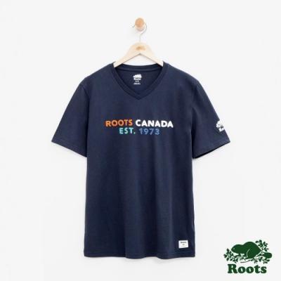 男裝Roots 喬治亞V領短袖T恤-藍