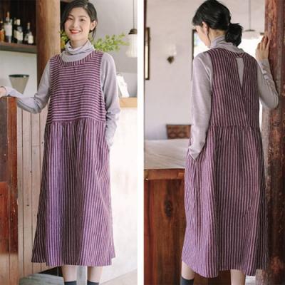 背心裙-色織亞麻紫色條紋無袖洋裝棉麻-設計所在