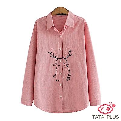 聖誕麋鹿角兔子刺繡襯衫 TATA-(XL/2XL)