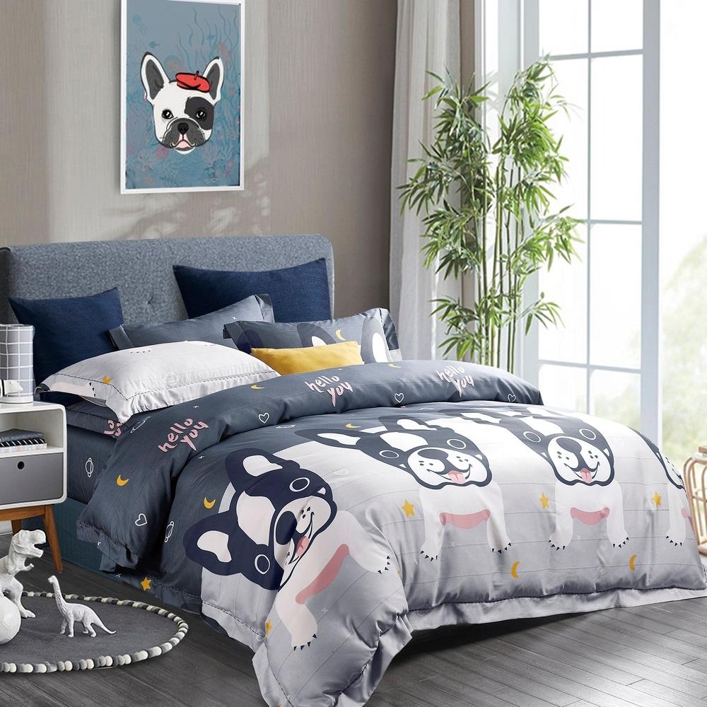 (限時下殺)夢之語 頂級天絲床包枕套組 單/雙/加/均一價 (多款任選) (法國犬藍)
