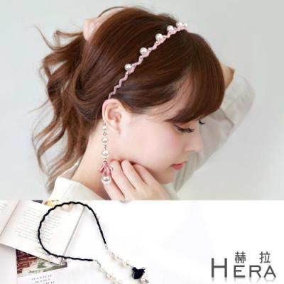 Hera赫拉- 水鑽珍珠流蘇假耳環頭箍/髮箍-2色
