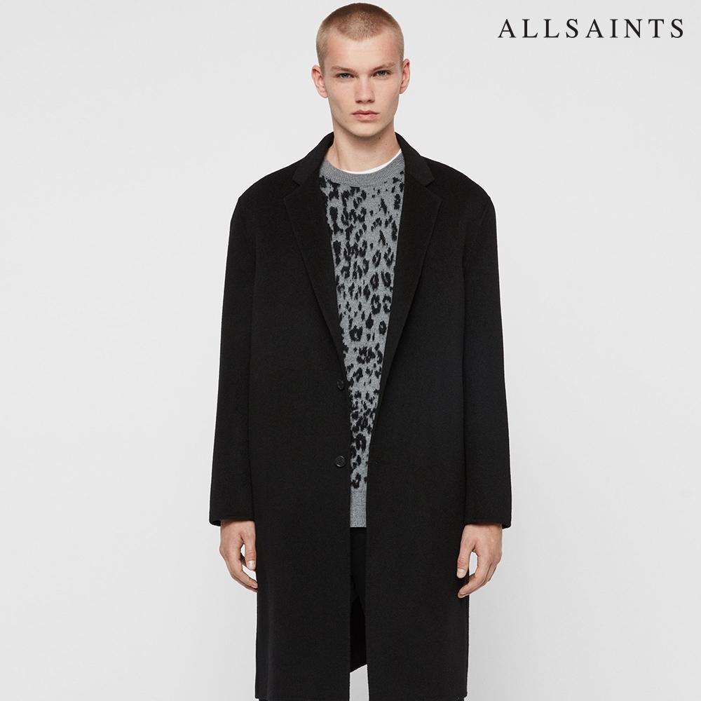 ALLSAINTS HANSON 寬鬆舒適經典極簡羊毛混紡大衣-黑