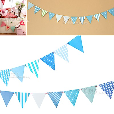 kiret 派對佈置三角拉旗-藍色格紋(贈吹不熄蠟燭10入)