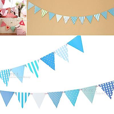 kiret 派對佈置 三角拉旗-藍色格紋(贈吹不熄蠟燭10入)