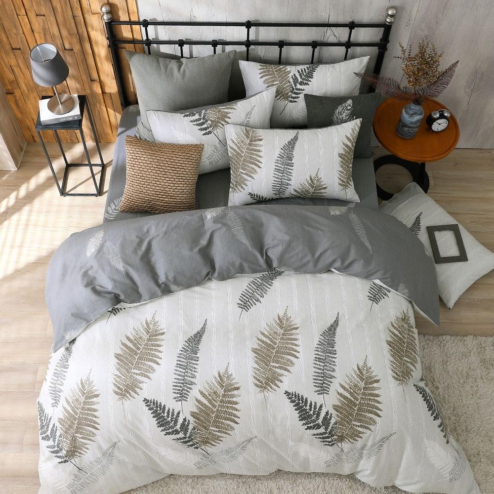 鴻宇 100%精梳棉 葉夜 雙人四件式薄被套床包組
