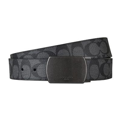 COACH PLAQUE壓印LOGO滿版大C印花設計PVC釦式皮帶(炭灰)