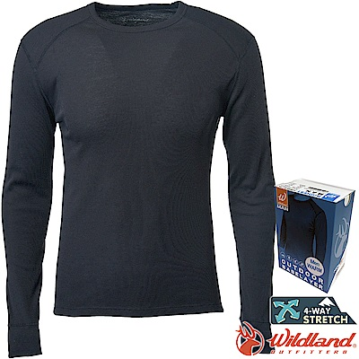 Wildland 荒野 H2666-54黑 男Highest圓領保暖衣 發熱衣