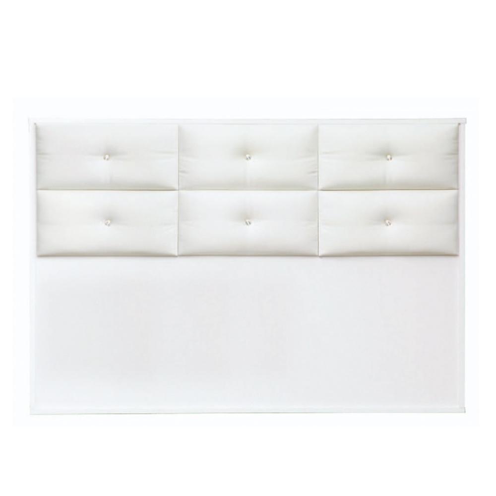 綠活居 蘇雷斯時尚白5尺皮革雙人床頭片-152x5x104cm免組