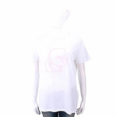 Karl Lagerfeld Lightning 白色老佛爺粉紅側臉肖像短袖T恤