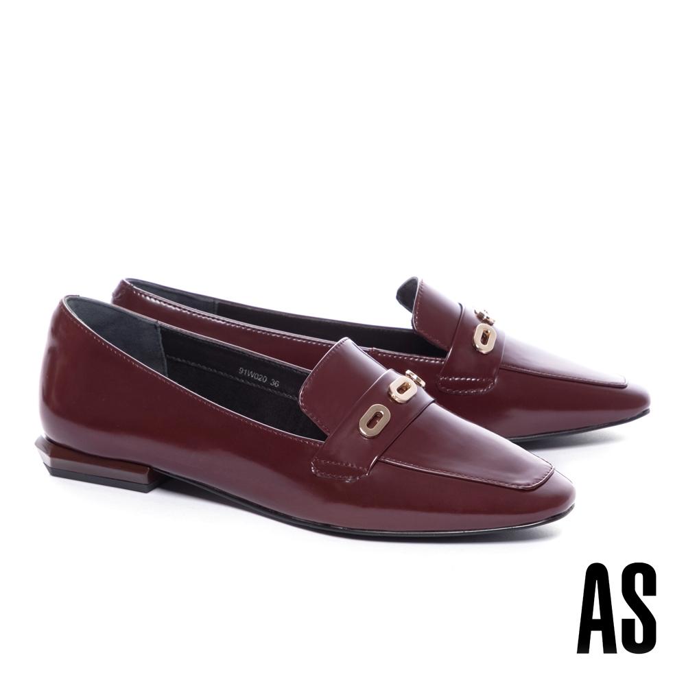 低跟鞋 AS 內斂時髦金屬眼釦牛皮樂福低跟鞋-紅