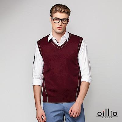 歐洲貴族 oillio V領背心 素面款式 紳士穿撘 紅色