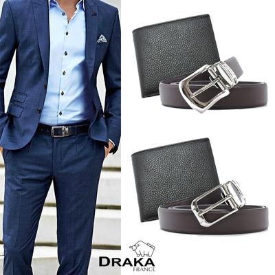 [時時樂限定] DRAKA達卡-牛皮短夾+ 真皮皮帶 (兩件組)