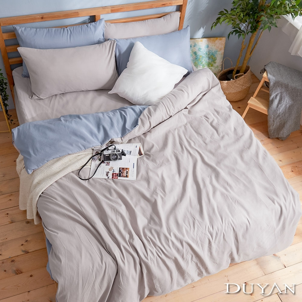 DUYAN竹漾-芬蘭撞色設計-雙人四件式舖棉兩用被床包組-藍灰被套 x 岩石灰床包 台灣製