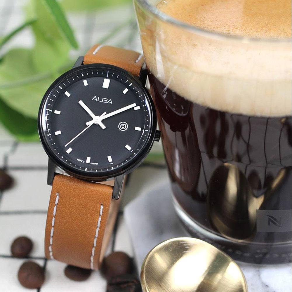 ALBA 雅柏 Prestige 男朋友風格女錶(AH7P77X1)-黑x咖啡/30mm