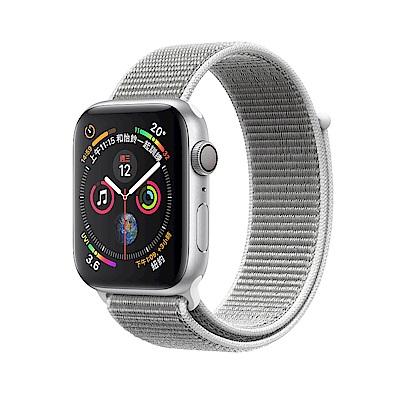 Apple Series4 LTE 40mm 銀色鋁金屬錶殼搭配貝殼白色運動型錶環