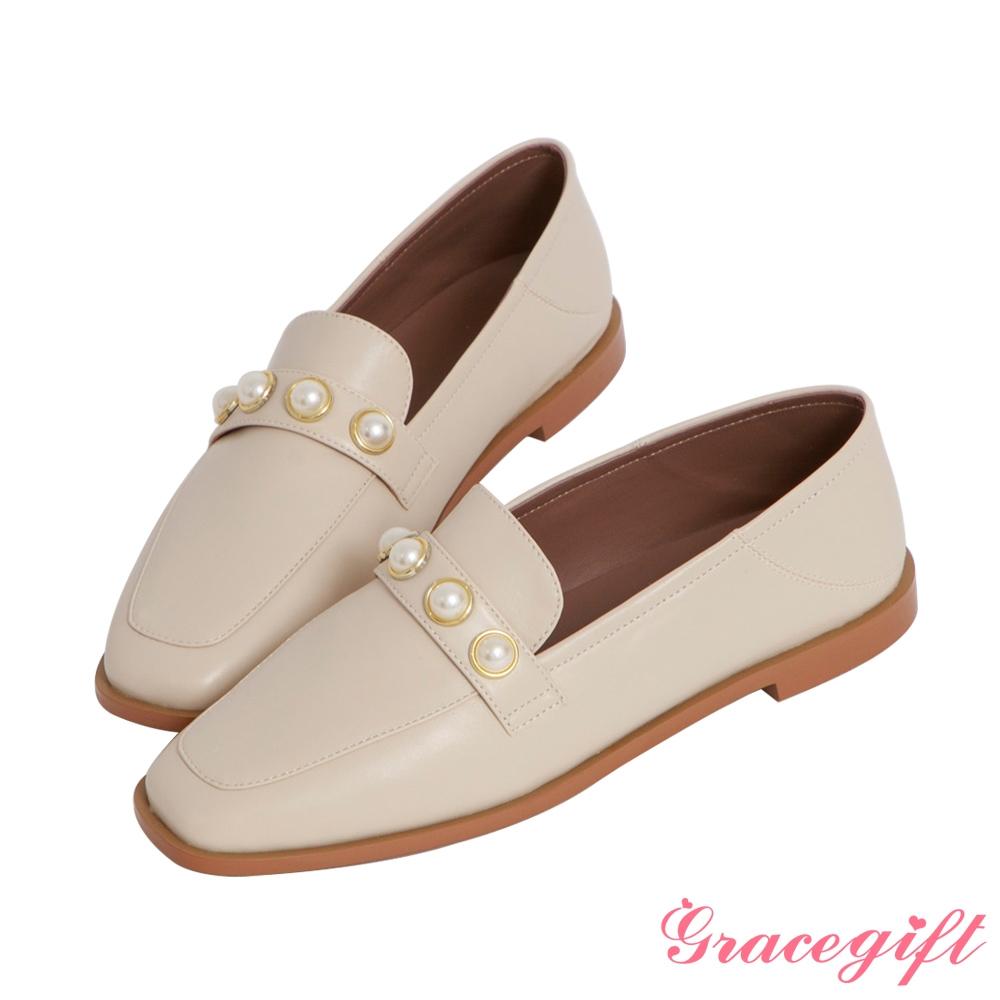 Grace gift-珍珠2way平底樂福鞋 米白