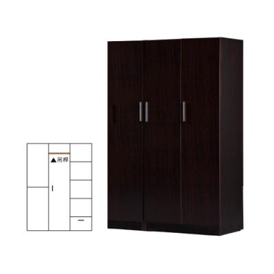 韓菲-胡桃塑鋼三門二格衣櫃-122x52.5x192cm