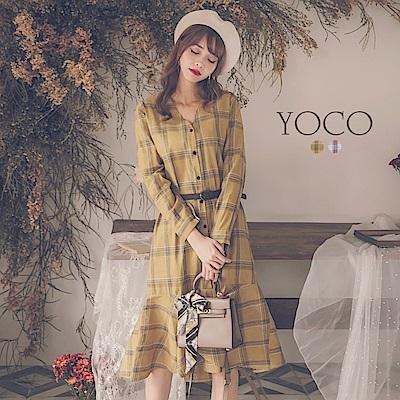 東京著衣-yoco 減齡穿搭格紋排釦魚尾洋裝-S.M.L.XL(共二色)