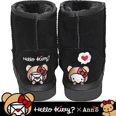 HELLO KITTY X Ann'S棕色熊熊精密彩色刺繡超短筒麂皮雪靴-黑
