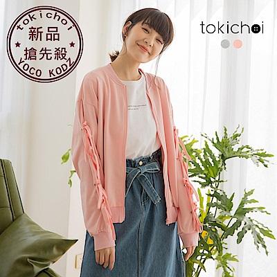 東京著衣-俏皮甜美蝴蝶結綁帶袖拉鍊棉質外套(共兩色)