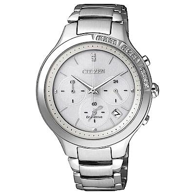CITIZEN星辰L系列 恬靜水鑽 三眼計時時尚腕錶-銀(FB4000-53A)