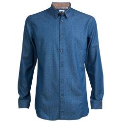CR7-Slim Fit 雙扣領藍底黑星襯衫 (8708-724-42)