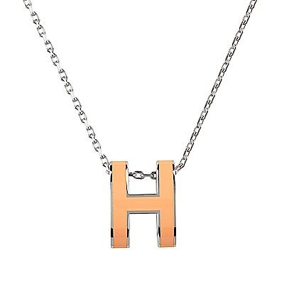 HERMES愛馬仕經典POP系列H字母立體簍空橢圓LOGO鎖骨項鍊(橘X銀)