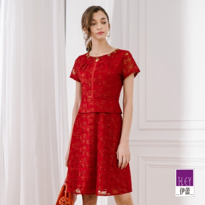 ILEY伊蕾 幾何暗緹花燙金洋裝(紅)