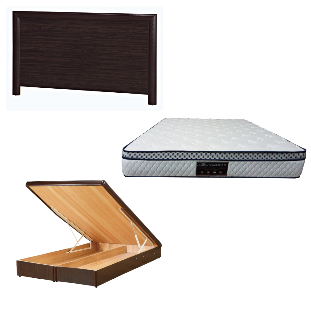 綠活居 羅多5尺雙人床台三式組合(床頭片+後掀床底+正三線防蹣獨立筒床墊)五色可選