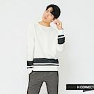 H:CONNECT 韓國品牌 男裝-下擺條紋設計針織衫-米白