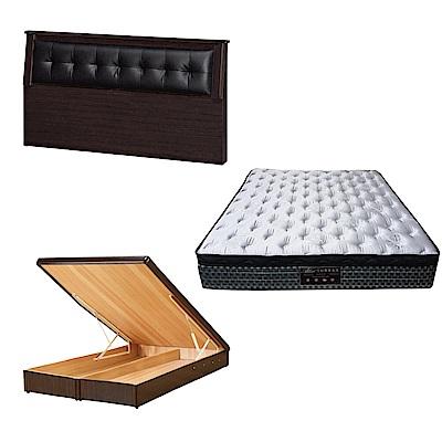 綠活居 亞凱5尺雙人床台三式組合(床頭片+後掀床底+抗菌天絲彈簧床墊)五色可選