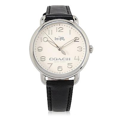 COACH 經典LOGO簡約真皮腕錶-36mm(14502267)