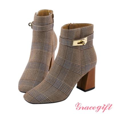 Grace gift X Wei-聯名方頭鎖釦高跟短靴 千鳥紋