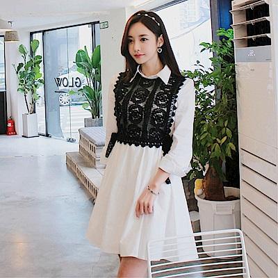 DABI 韓國風名媛氣質收腰顯瘦蕾絲外衫襯衣長袖洋裝