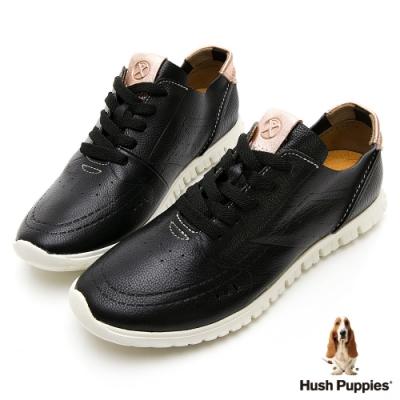 Hush Puppies 真皮輕量健步鞋-黑色