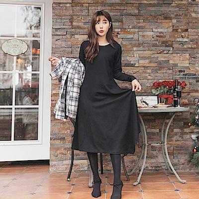 不規則剪裁裙襬設計純色長洋裝-OB大尺碼
