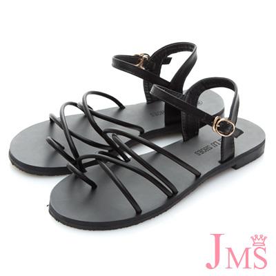 JMS-沁涼夏日雙交叉線條夾腳平底涼鞋-黑色