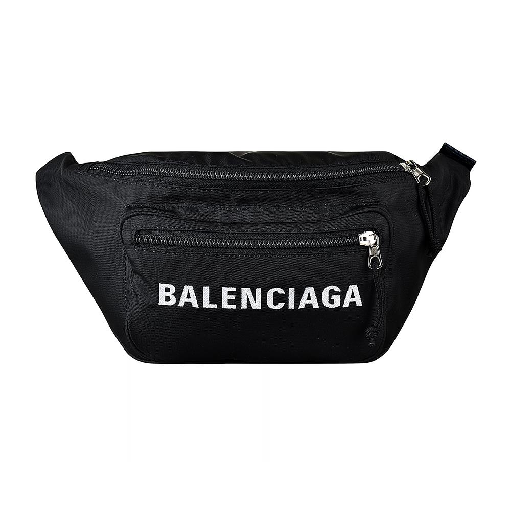 BALENCIAGA巴黎世家WHEEL經典刺繡大LOGO尼龍拉鍊胸腰包(黑)BALENCIAGA