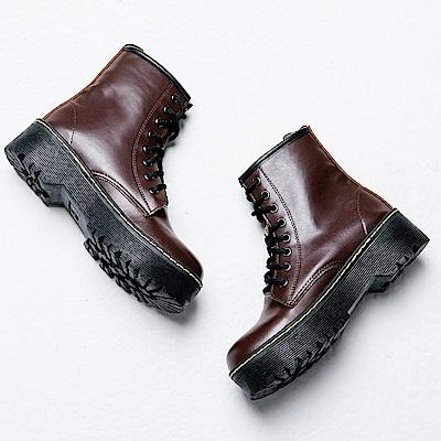River&Moon馬丁靴-街拍潮流繫帶拉鍊厚底靴-咖棕