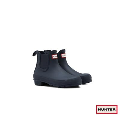 HUNTER - 女鞋-切爾西霧面踝靴 - 海軍藍