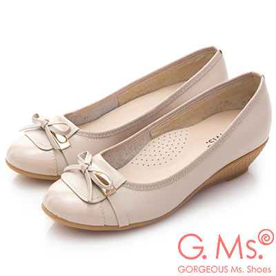G.Ms. MIT系列-金屬蝴蝶結手工牛皮楔型跟鞋-杏色