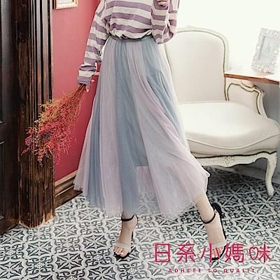 日系小媽咪孕婦裝-孕婦褲~特殊拼接感浪漫紗裙 鬆緊腰圍