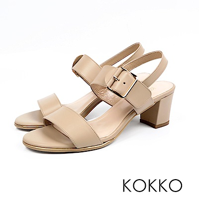 KOKKO- 大勢女孩最愛後帶粗跟涼鞋 - 烤奶茶