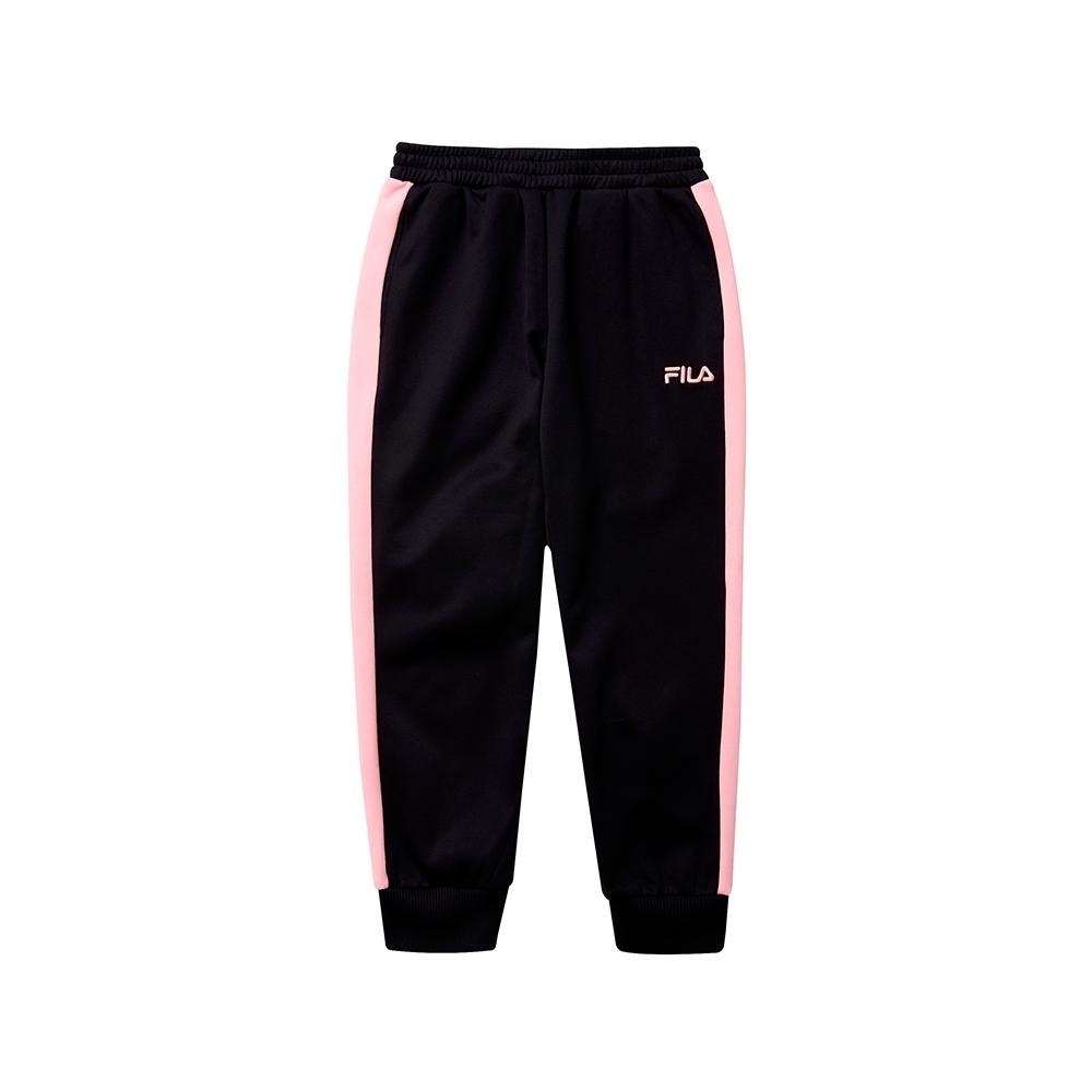FILA KIDS 女童針織束口長褲-黑 5PNT-8412-BK