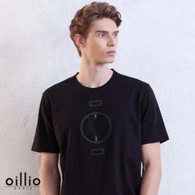 oillio歐洲貴族 舒適透氣柔順T恤 休閒特色老虎印花 黑色