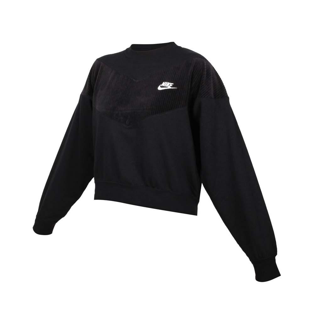 NIKE 女長袖T恤-大學T 燈芯絨 慢跑 刷毛 保暖 休閒 上衣 CZ1877-010 黑白