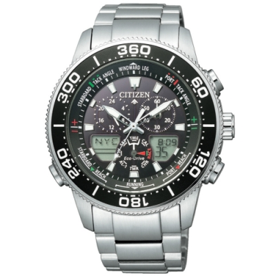 CITIZEN星辰 PROMASTER限量光動能三眼計時萬年曆手錶(JR4060-88E)