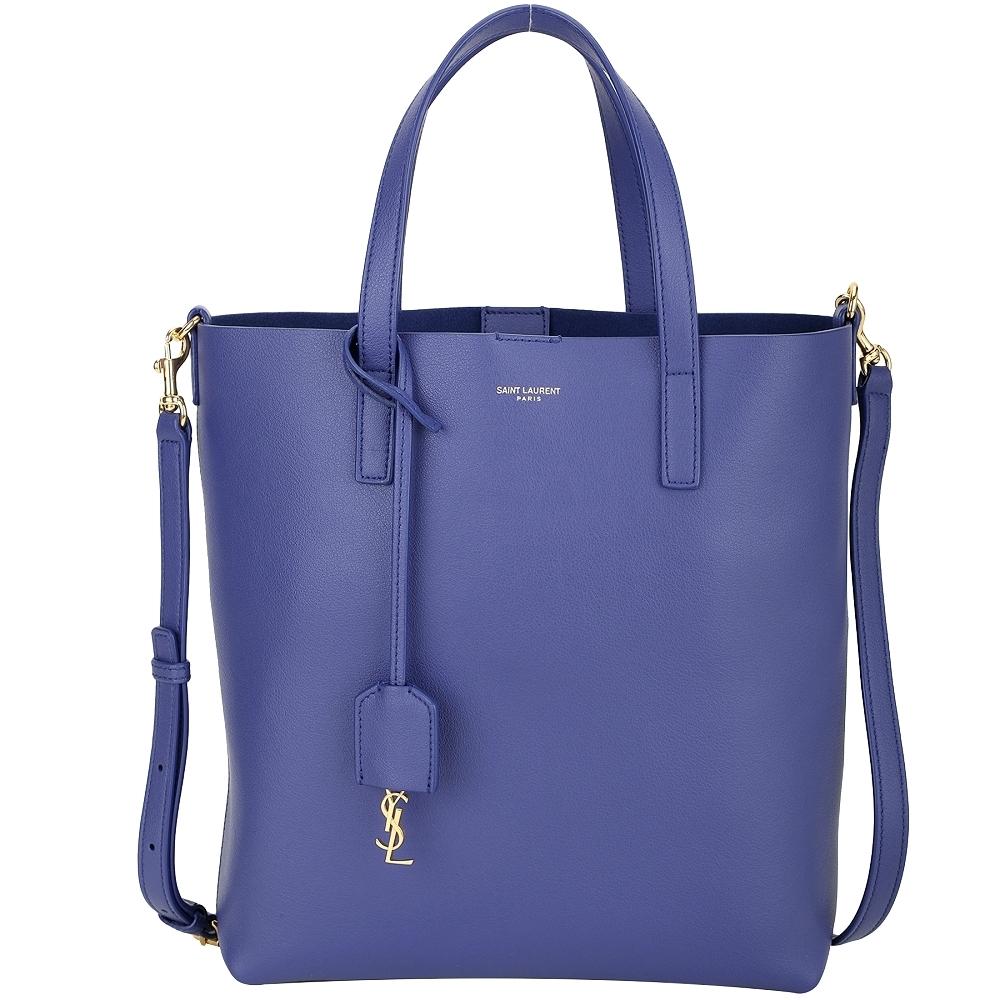 YSL Saint Laurent N/S 軟質牛皮兩用托特包(藍紫色)